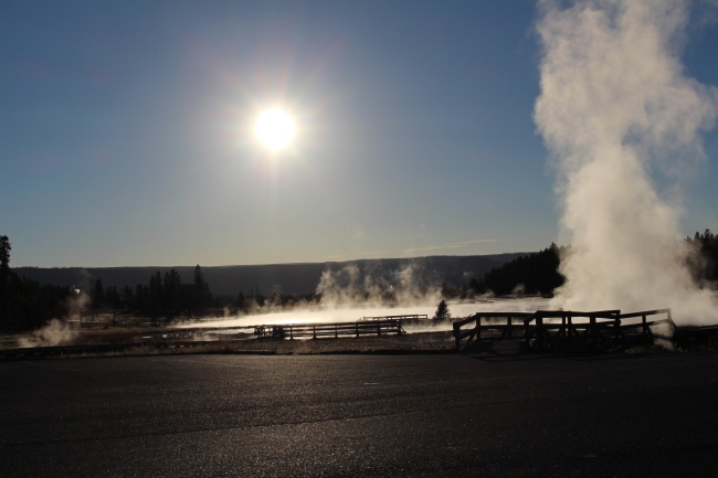 A cool shot with the Sun over another large Geyser