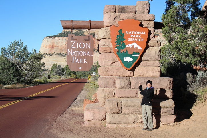 Welcome to Zion. Whoever had the idea of paving the roads with red pavement is a genius. Roads blend in with the rock.