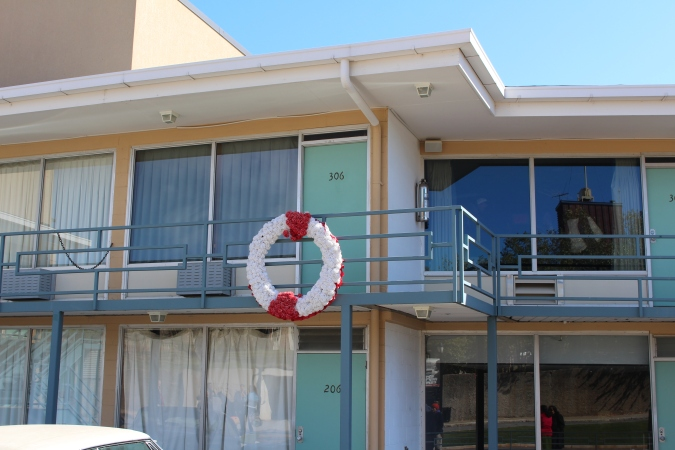 Dr. King was in room 306. The Wreath marks the spot he was standing when shot
