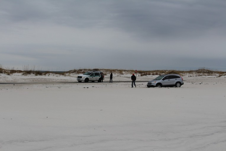 Do not drive on the sand, especially in a federally protected area. The Park Rangers have full police powers. Busted!