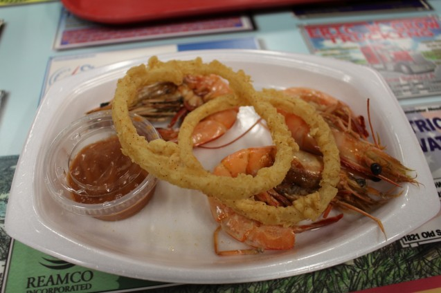 Massive Shrimp, and Tabasco cocktail sauce.