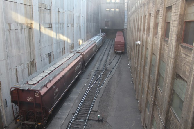 Rail lines running thru the factory