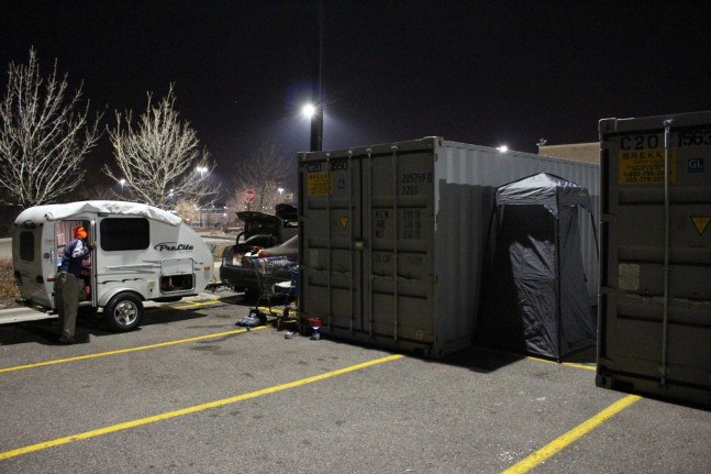 Yes this is our Shower set up in the Walmart parking lot in Denver, Colorado in Mid December. The water froze in the parking lot before making it to the drain.