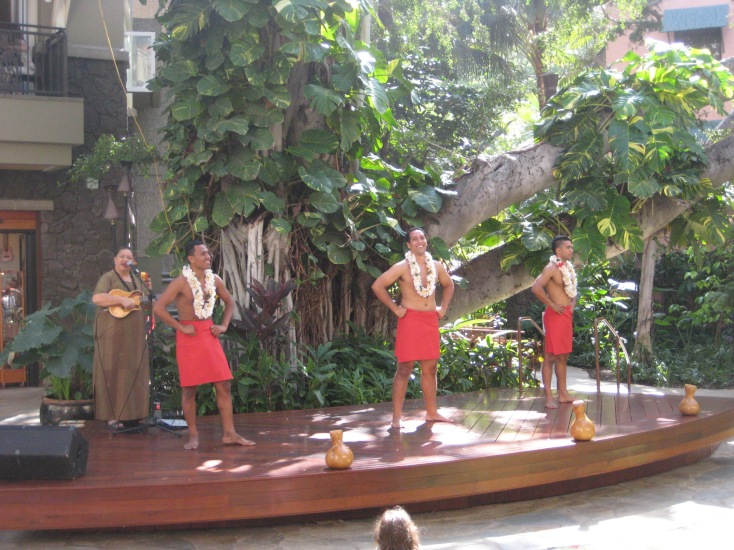 Hula Dancing in Waikiki, yes I realize it's men, apparently men started the dance.