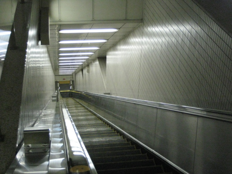 escalator deep underground