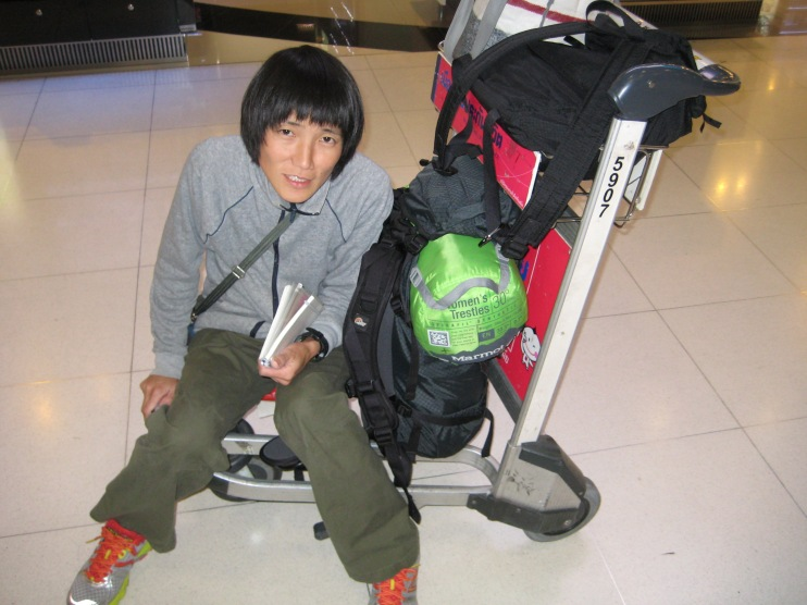 Unfortunately on arrival in Bangkok, Aya was not feeling well and she had to be pushed to the taxi stand on a baggage cart.