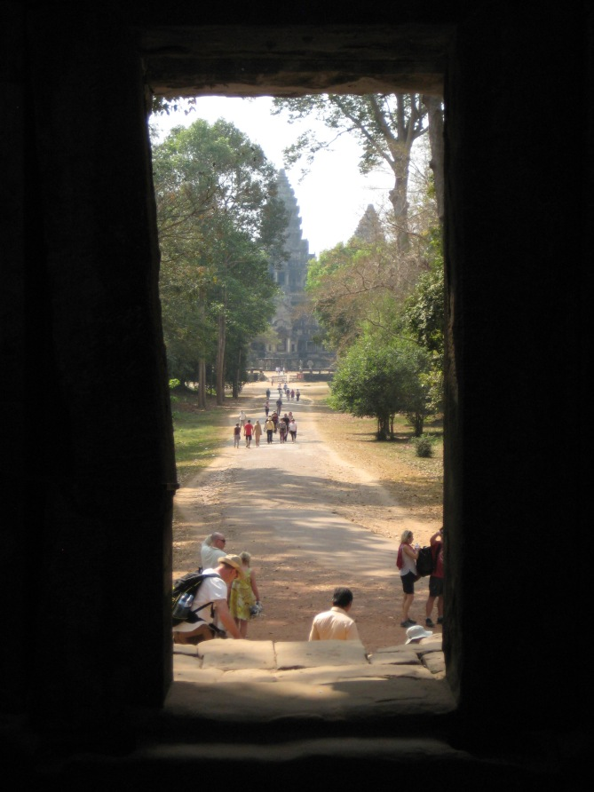 walking into Angkor Wat from the rear
