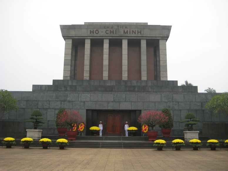 From 9am- noon daily you can line up for a chance to see Ho Chi Minh's preserved body. He is kept on ice inside a glass case. He is just thru those doors....