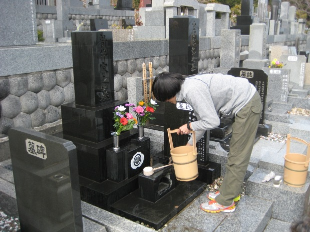 Washing and cleaning the grave.