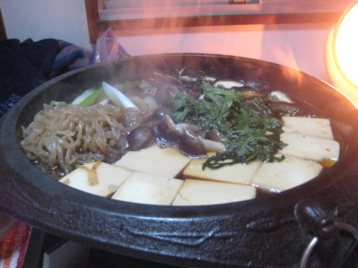 "Also called ""hot pot"". This is what it sounds like, a pot of boiling broth, filled with veggies, noodles, tofu and of course amazing Japanese Beef!"