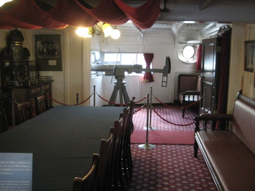 Large guns on each side of Captain`s lounge. I am sure this is where every sailor wanted to be during combat, so fancy inside.