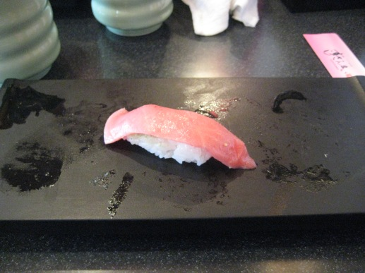 My last piece of Sushi in Japan. Saved the best for last, Top quality Toro Tuna.