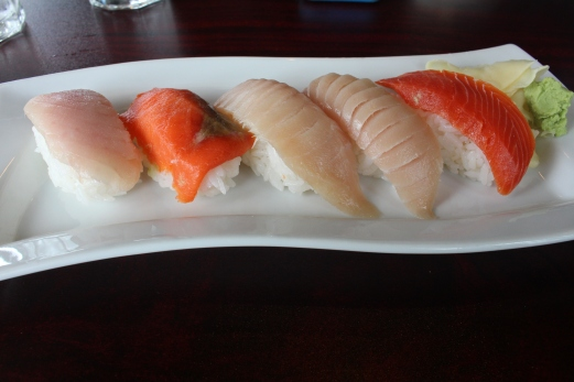 Salmon and Tuna Nigiri.