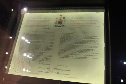 The authentic Proclamation of the Constitution Act, 1982. With this document, Canada cut its final Constitutional ties with Britian and allowd for the passage of the Canadian Charter of Rights and Freedoms.