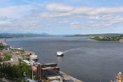 View of the St. Lawrence River from the Terrasse Dufferin. That is the Levis- Quebec City Ferry.