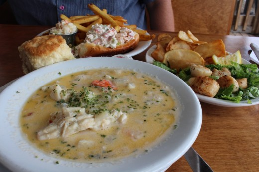 Front is the Seafood Chowder, right are the famous fresh Digby Scallops and in the back is a Lobster Roll.