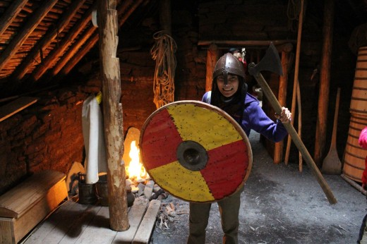 And having some fun with the Viking weapons.