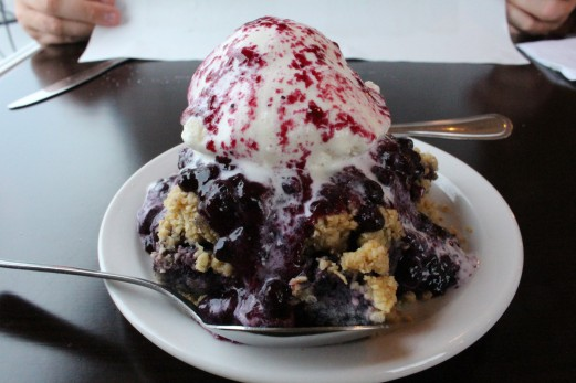 Blueberry Crisp. We saw someone else order this, and well how could we not.