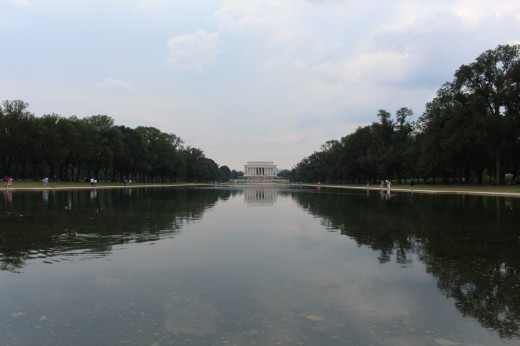 Lincoln Memorial at the end of the Reflecting pool.